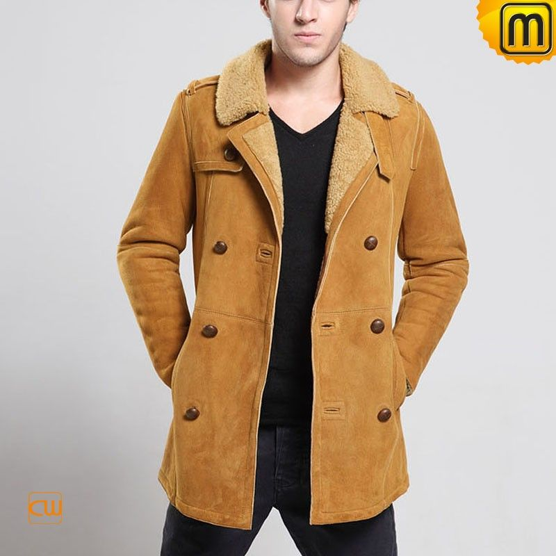 Designer black sheepskin jacket for men made of genuine Australian