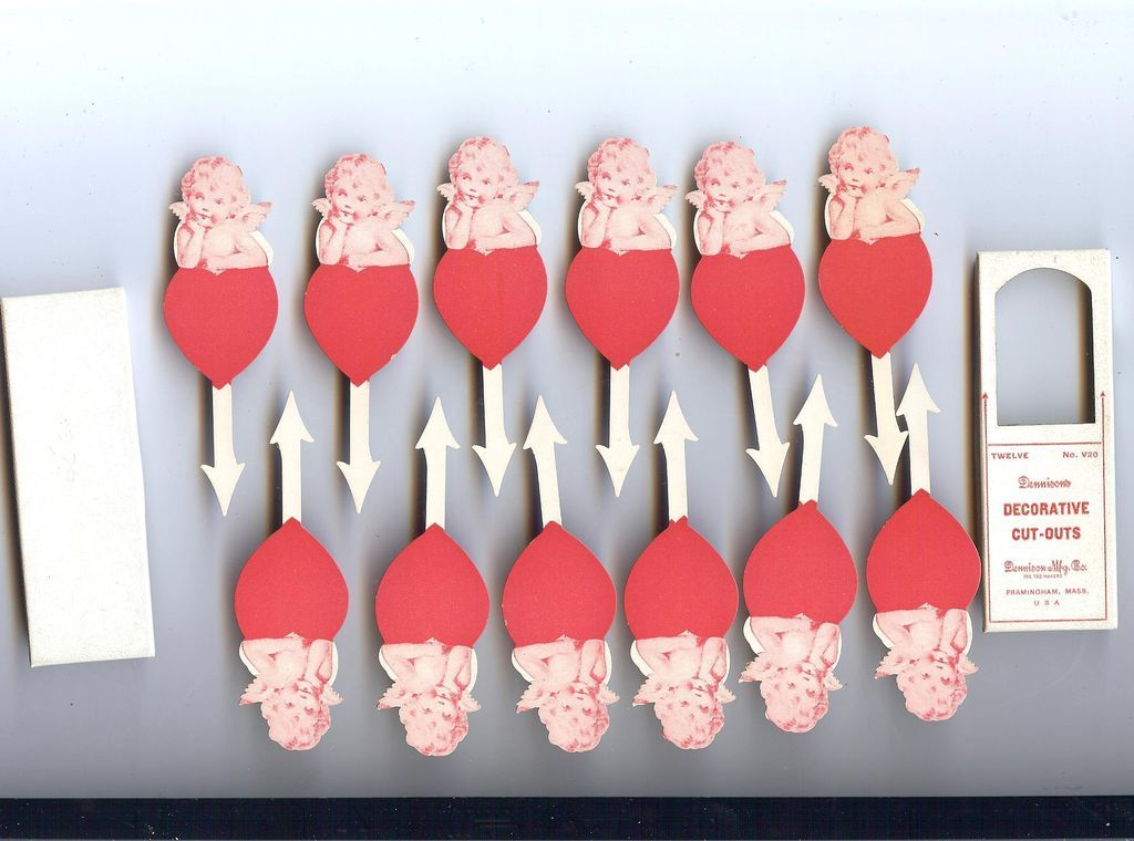 Dennison decorative Cut outs pick for ices, cakes puddings Valentine Cute Cherub and Heart 1920s