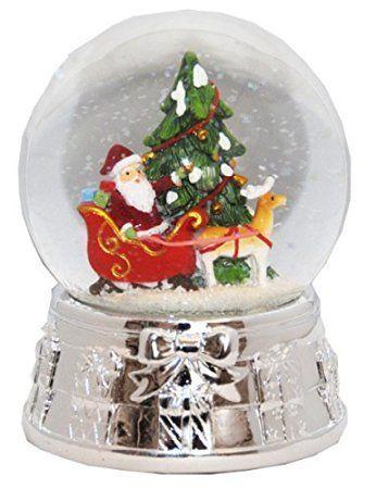 20075 Snow globe Christmas Tree Santa Silver Base music box, 55