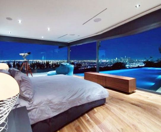 Bedroom and swimming pool with large glassy windows. Bedroom and swimming pool with large glassy windows   Ultimate