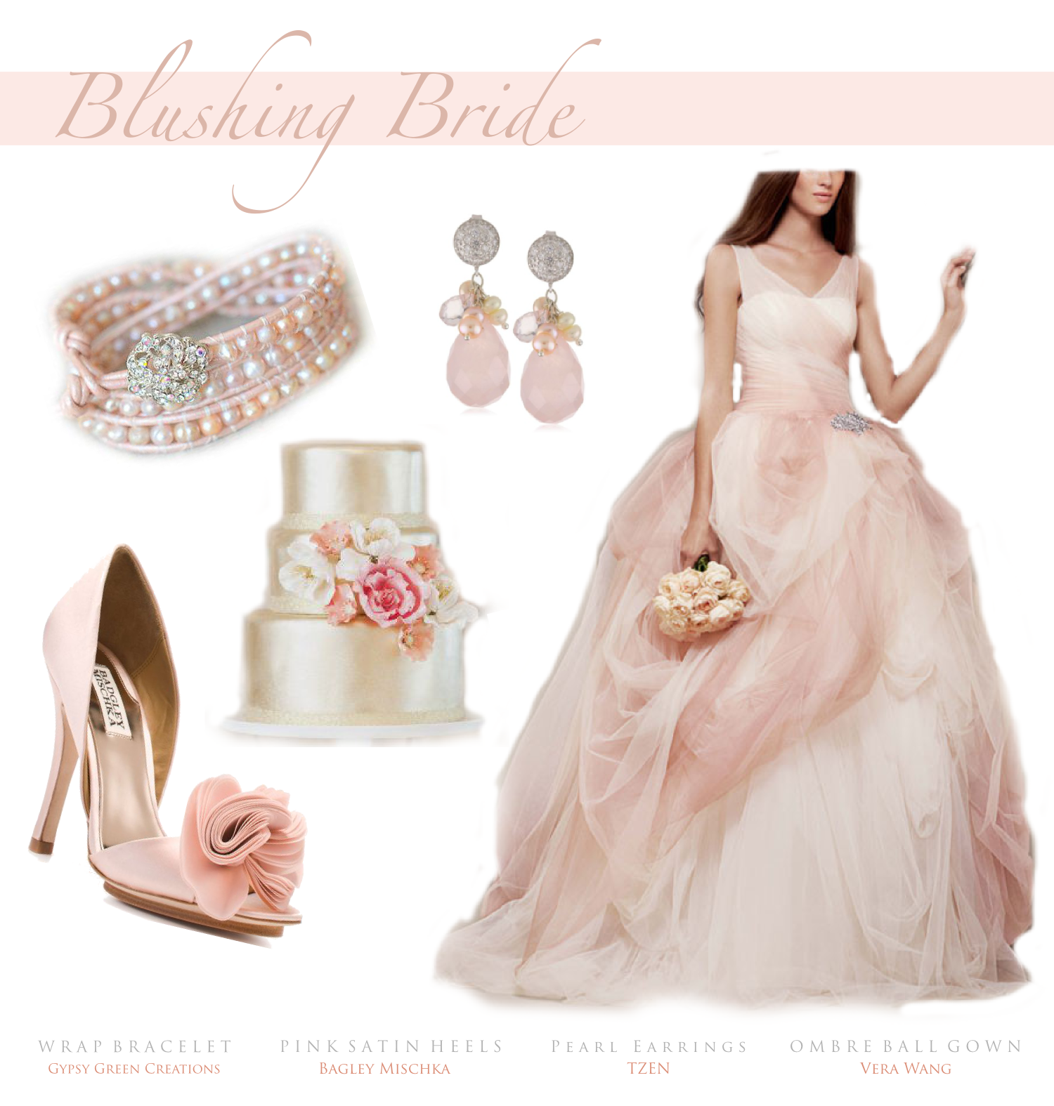 Blushing Bride Wedding Theme. Bracelet: https://www.etsy.com/listing ...