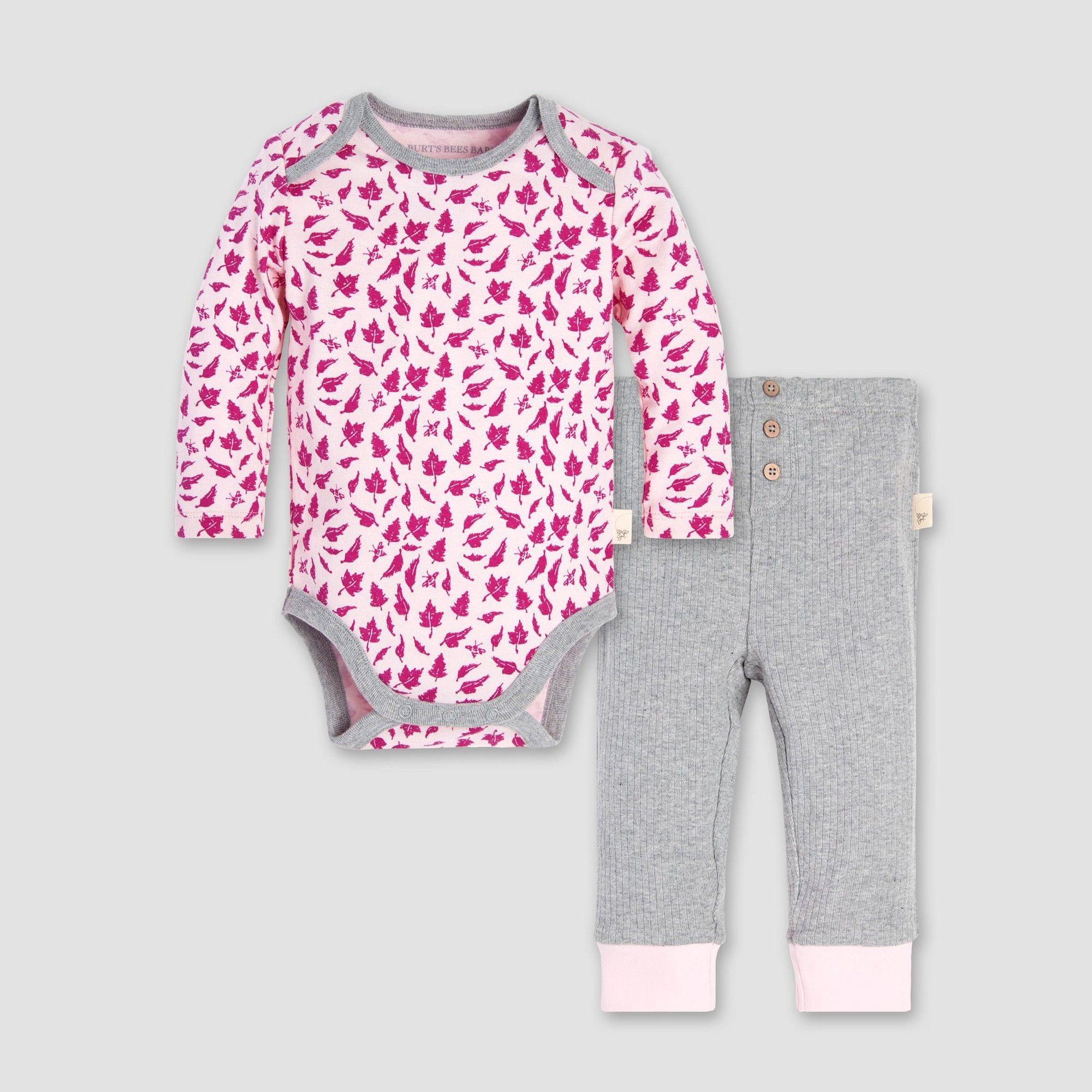 fa838e323 Burt s Bees Baby Baby Girls  Sketched Leaves Bodysuit and Pant Set ...