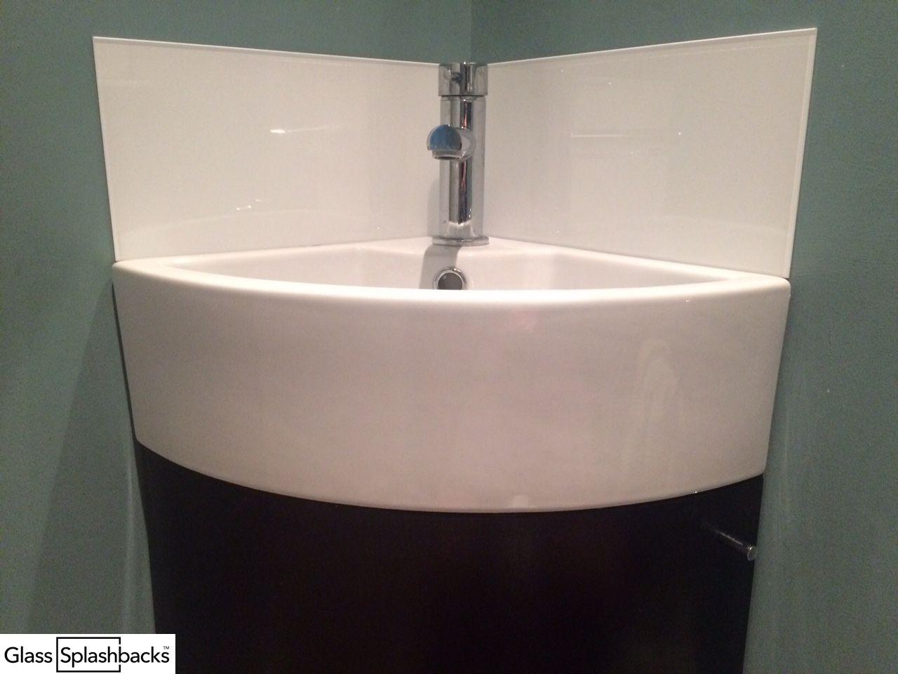 White Sink Splashback, On Corner Vanity Sink. We Create Bespoke Glass  Products In Any
