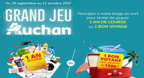 Grand Jeu Auchan 1 An De Courses Ou 1 Bon Voyage Pour 2 Personnes D Une Valeur De 1500 A Gagner Maximum Echantillons Bon Voyage Je Gagne Courses