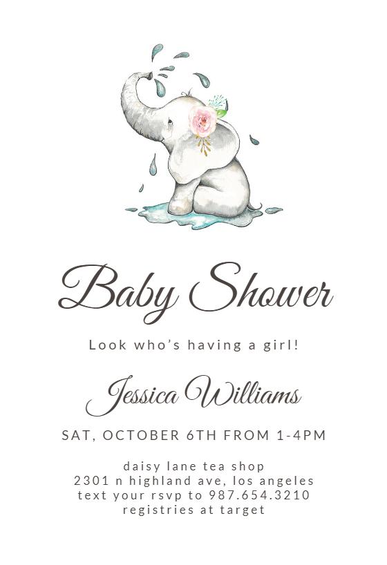Elegant Elephant Baby Shower Invitation Template Free Greetings Island Elephant Baby Shower Invitations Printable Baby Shower Invitations Free Baby Shower Invitations