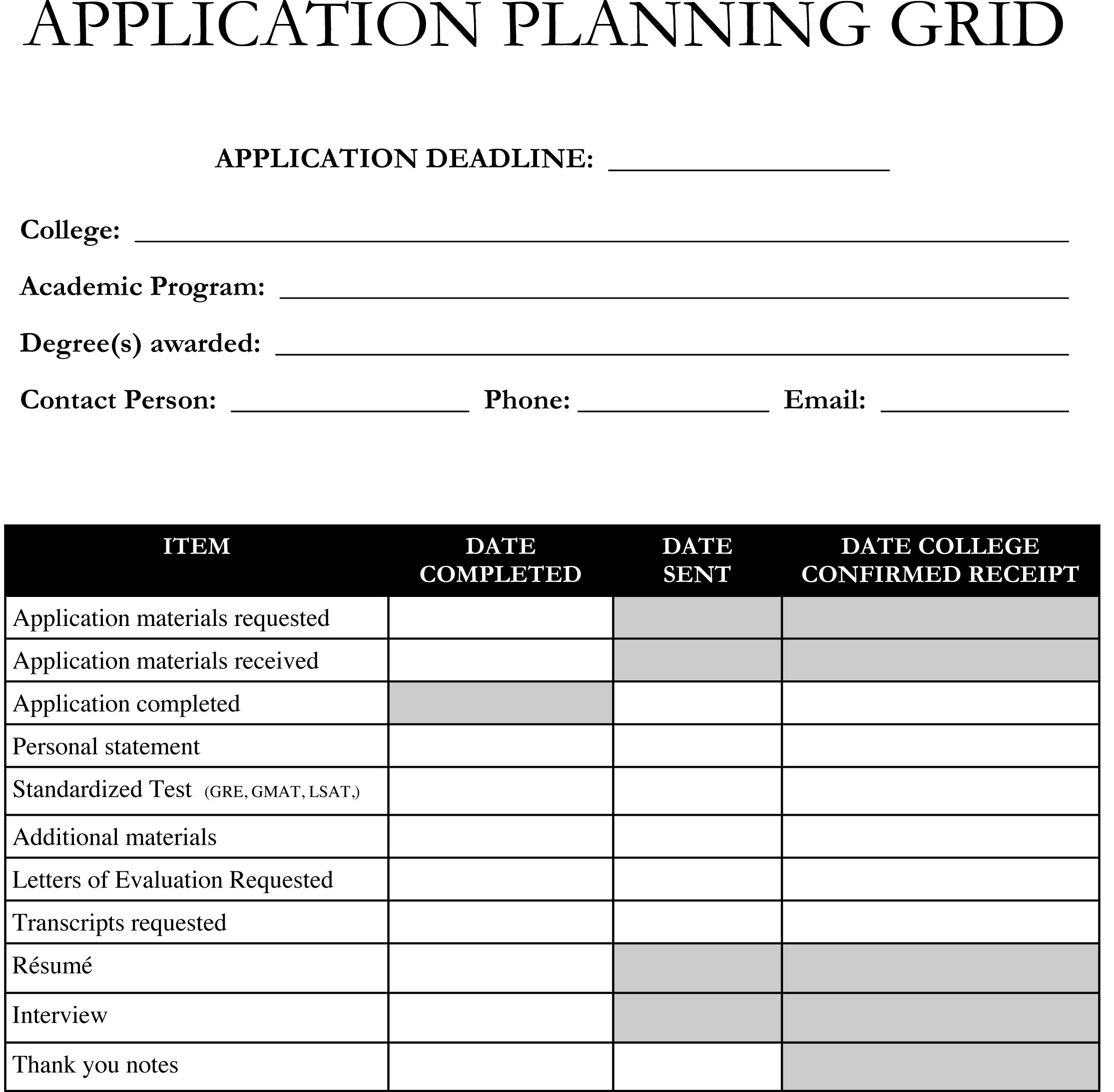 Planning On Applying To Graduate School Use This Application Planning Grid Template To Stay