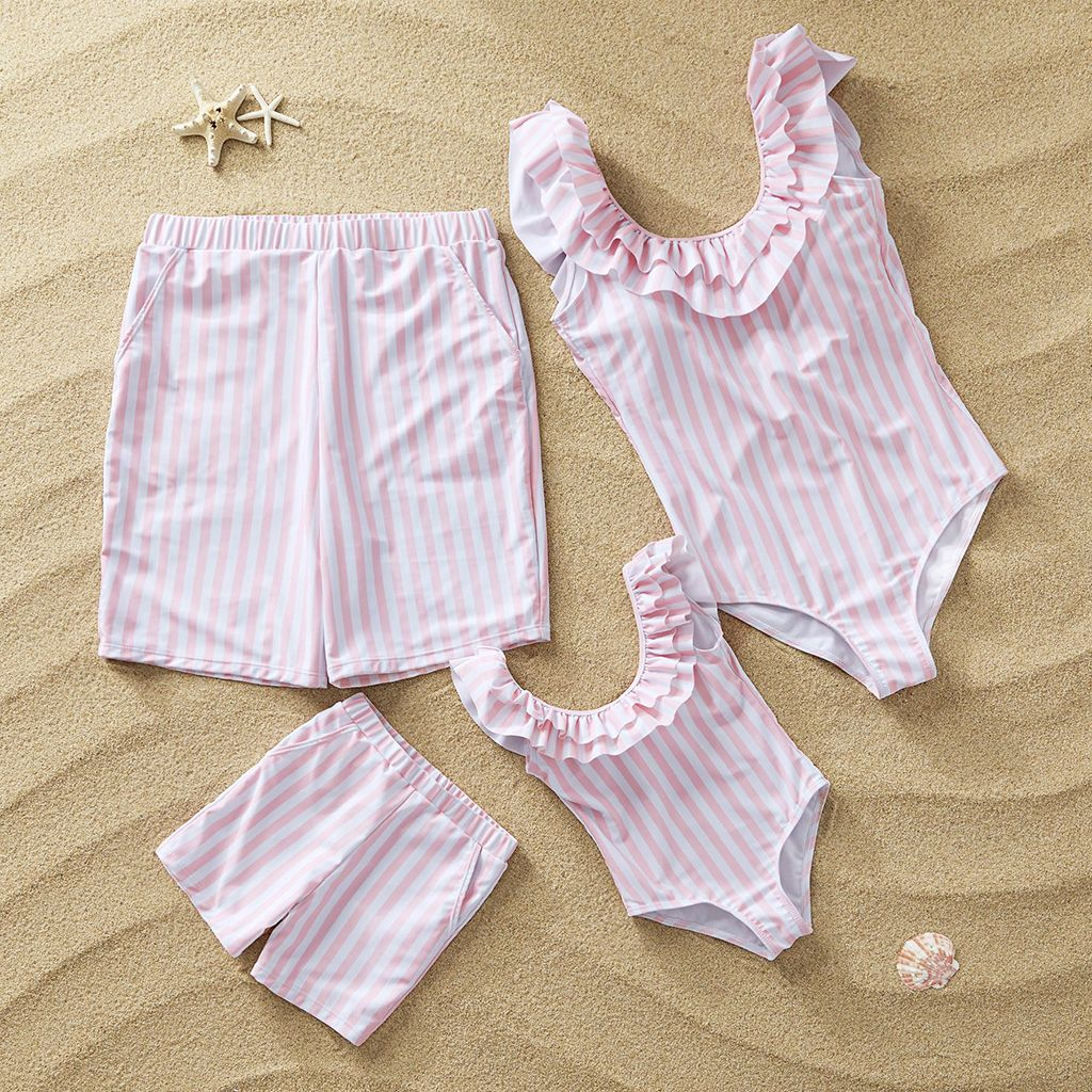 Ruffle Striped Family Swimsuits Matching family outfits