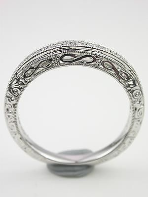 Vintage Style Wedding Ring With Infinity Motif RG 2814wbag