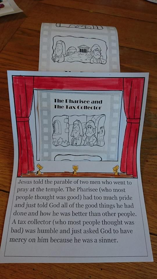 The Pharisee and The Tax Collector Sunday school craft