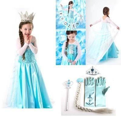 kit reine neiges robe princesse elsa 4 accessoires diadme baguette gants fleur cheveux taille 2