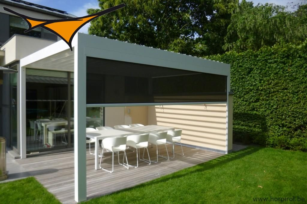 Terrace cover algarve with integrated fixscreen evo