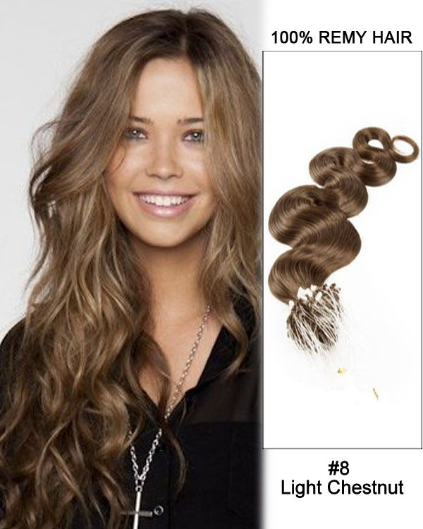 16 8 Light Chestnut Body Wave Micro Loop 100 Remy Hair Human Hair