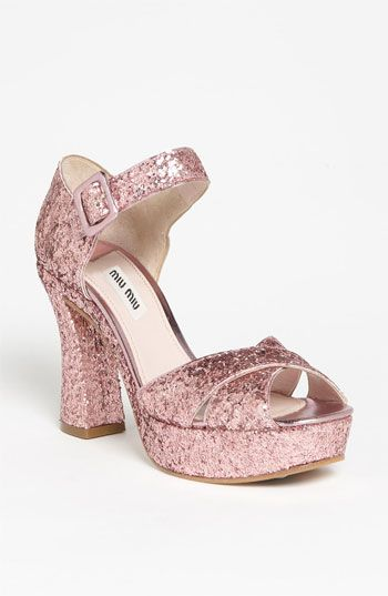 Miu Miu Glitter Block Heel Sandal available at #Nordstrom