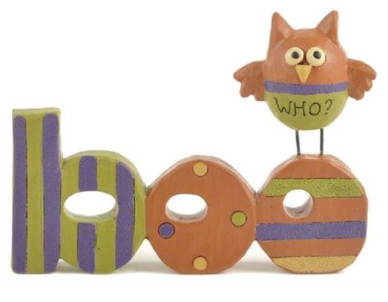Blossom Bucket Halloween Figurine--BOO with OWL~~SO CUTE~~