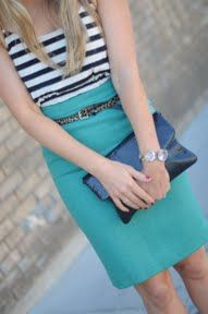 Stripes and a bright turquoise/teal. Love the funk the skinny leopard-print belt adds!