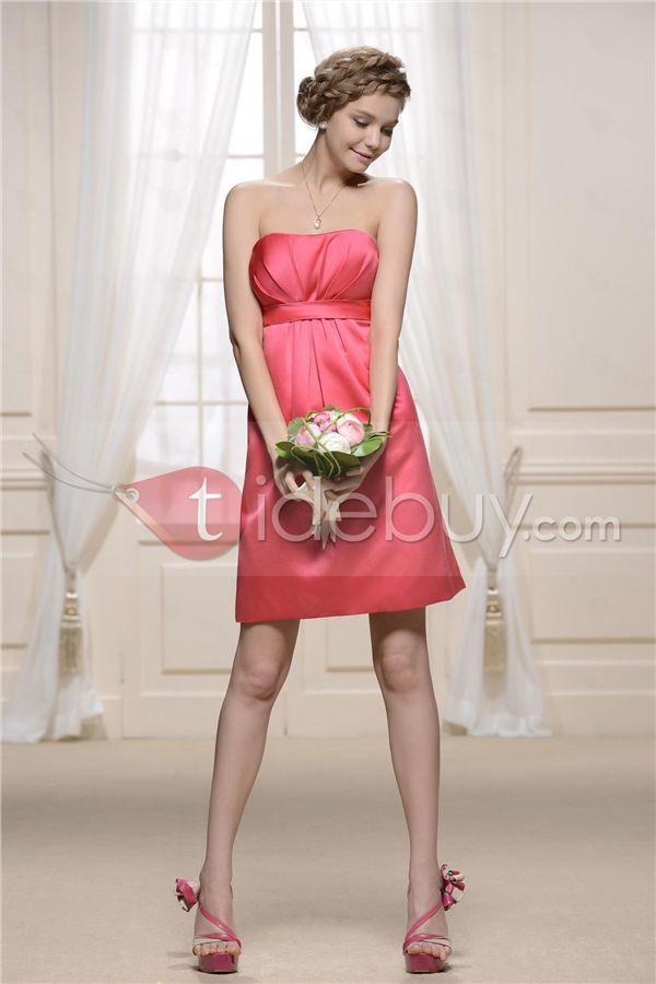 Atractivo Vaina Vestido de Dama de Honor de la Rodilla-Longitud ...