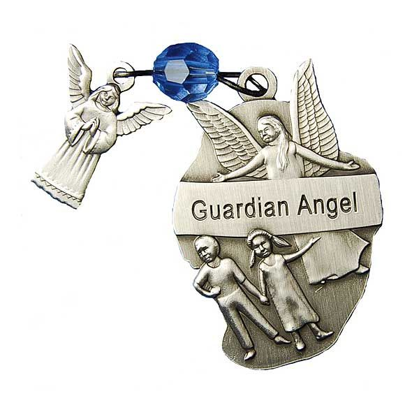 Double-sided, antique silver pocket prayer medallion. Let someone know their guardian angel is watching over them. For this and other unique baby Christening gift ideas visit blog.printeryhouse.org, #printeryhouse