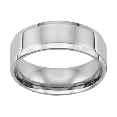 Mens 80mm Comfort Fit Flat Wedding Band In 14K White Gold