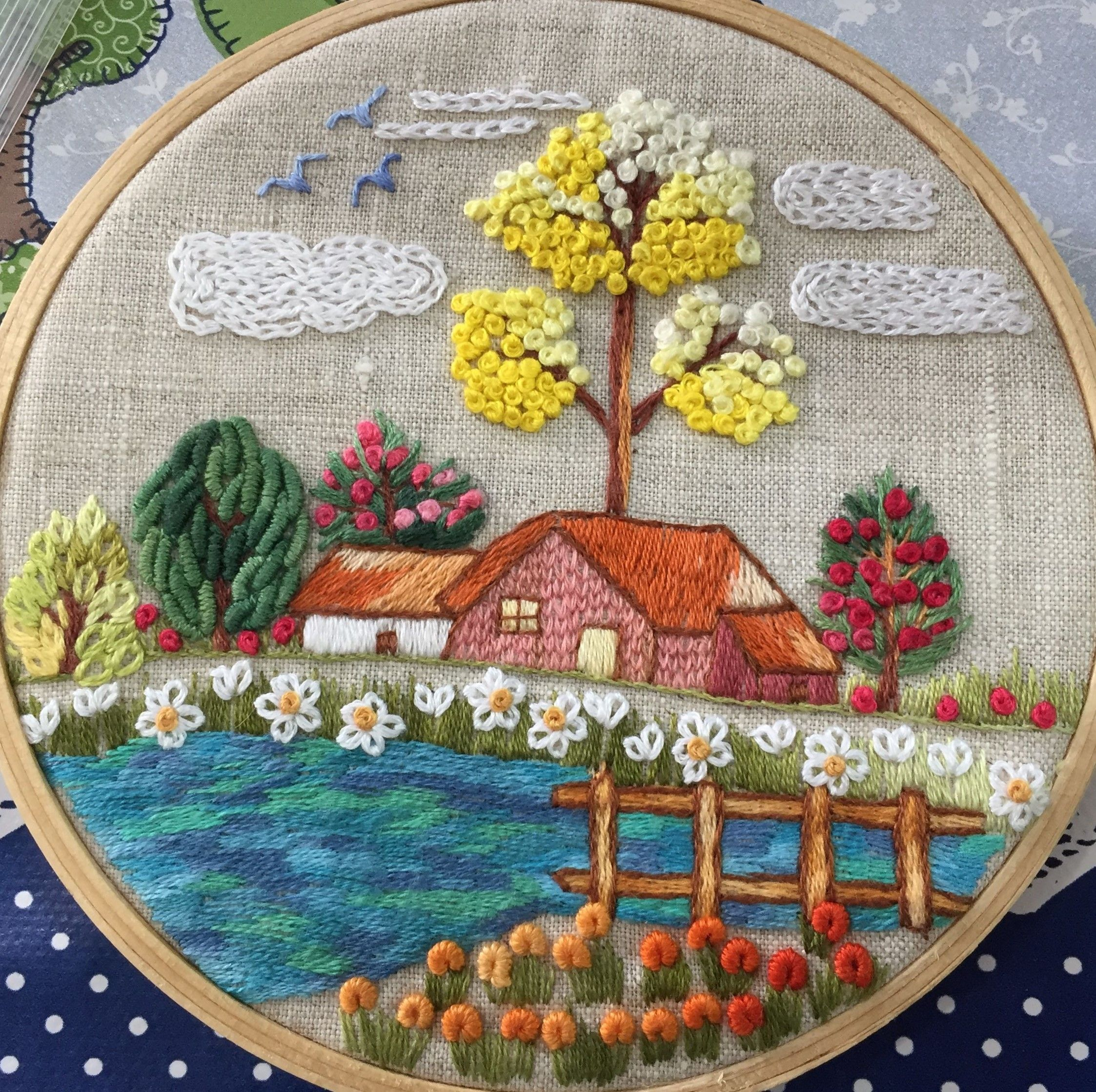 Japanese Garden Bead embrpodery kit Spring Landscape Needlepoint Handcraft Tapestry kits DIY wall decor Beaded picture cross stitch bordado