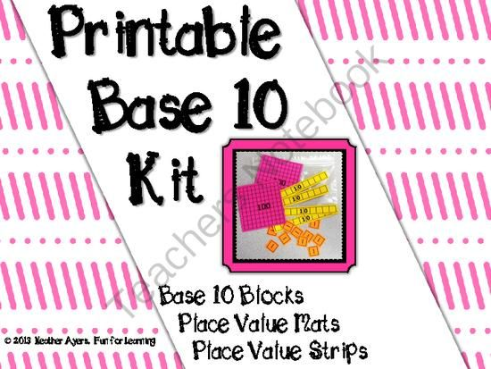 graphic regarding Place Value Strips Printable named Freebie Printable Foundation 10 Package Blocks, Mats, Strips against Enjoyable