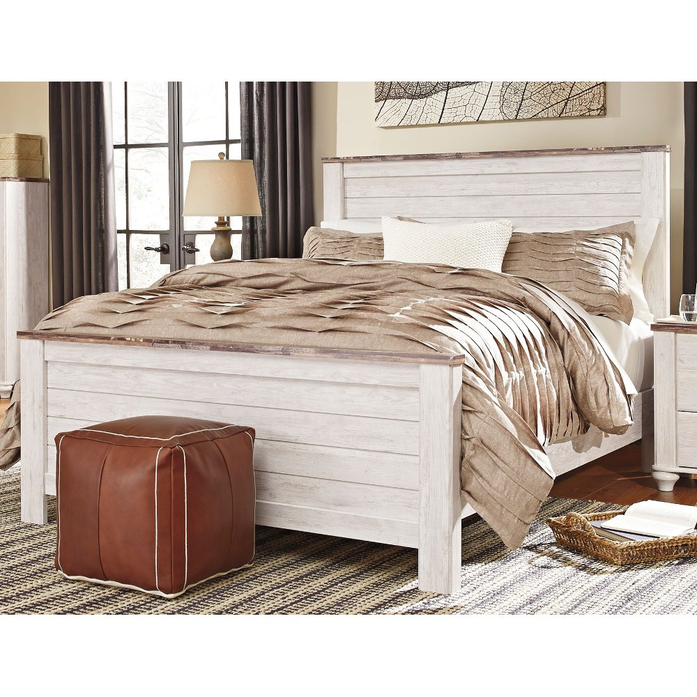 Classic Rustic Whitewash King Bed Millhaven Rustic Bedroom