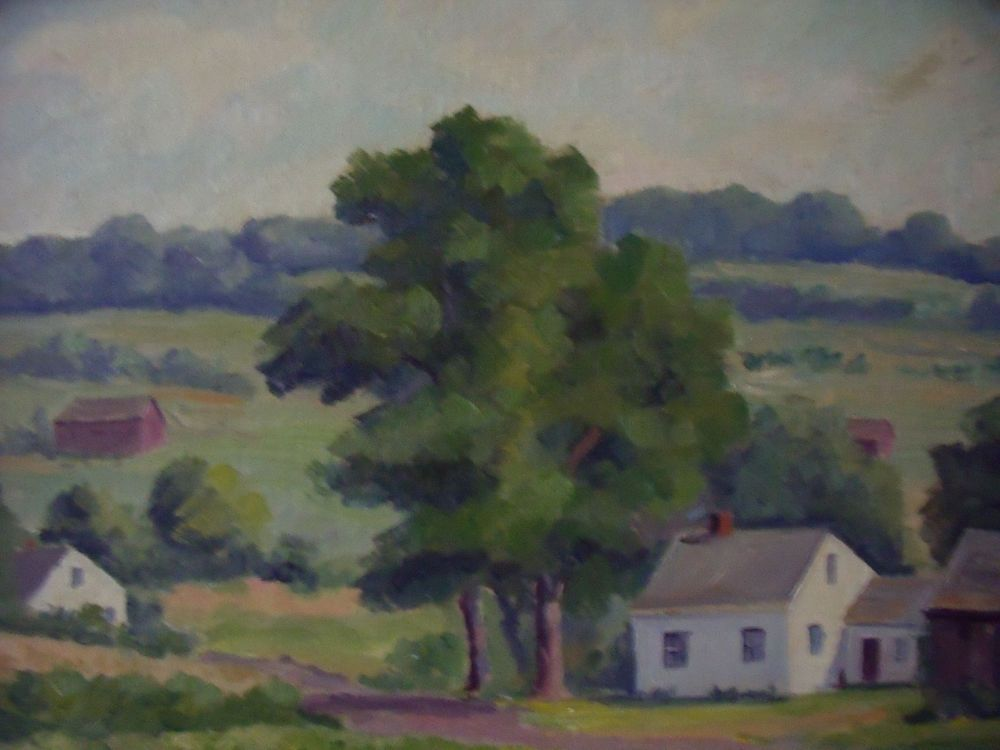 HORTENSE BUDELL FARM WITH WHITE HOUSE OIL PAINTING NEW HOPE PA IMPRESSIONIST