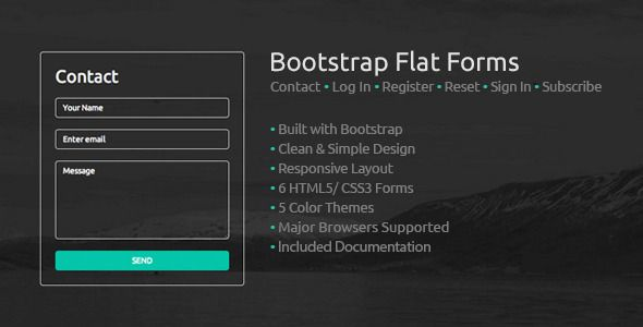 Bootstrap Flat Forms Contact Form Icon Font And Fonts