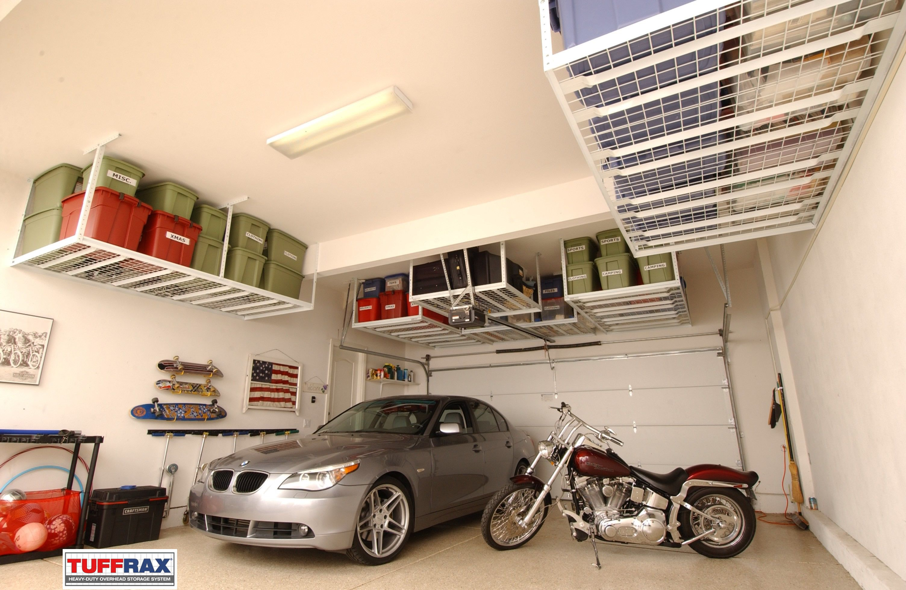 Overhead garage storage solution Overhead garage storage