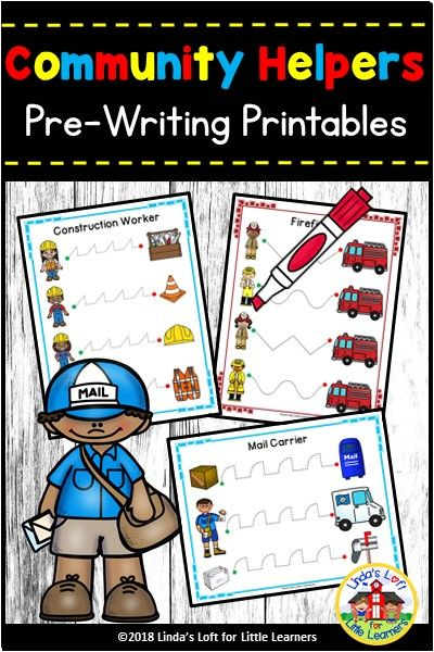 Community Helpers Pre-Writing Printables | Community ...