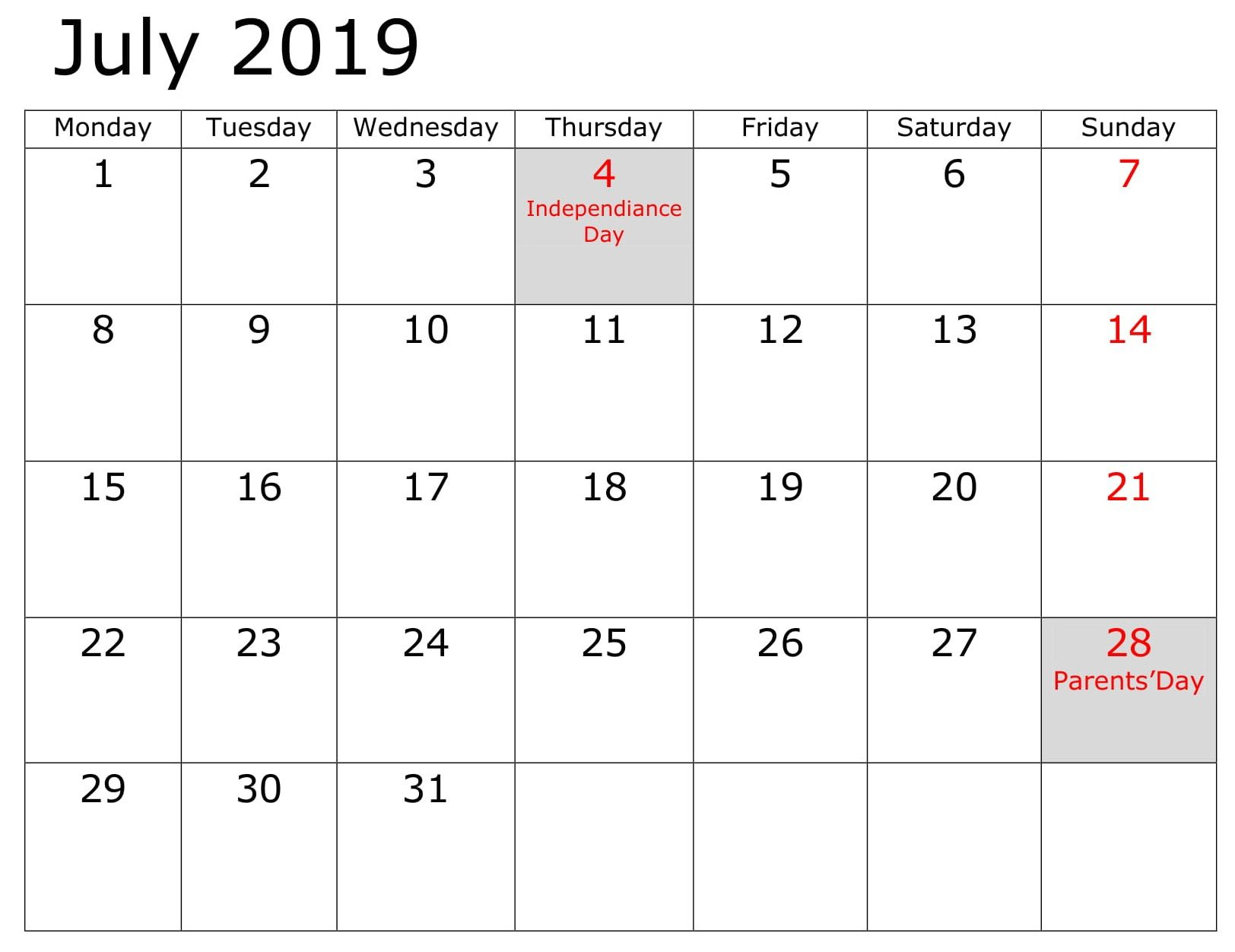 July Blank 2019 Business Calendar 2019 Calendar Calendar