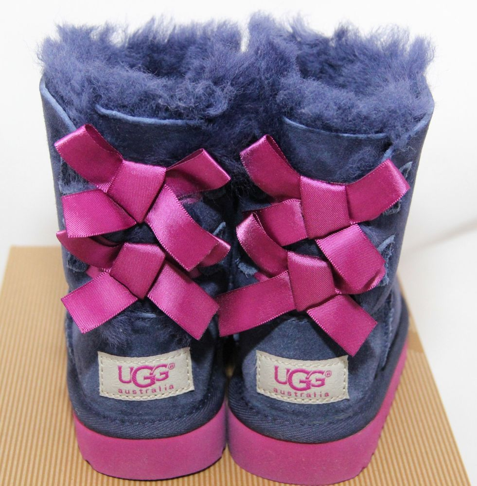 c3122db8184 EEUC UGG Bailey Bow Peacoat Boots Girl Toddler Size 6 Purple ...