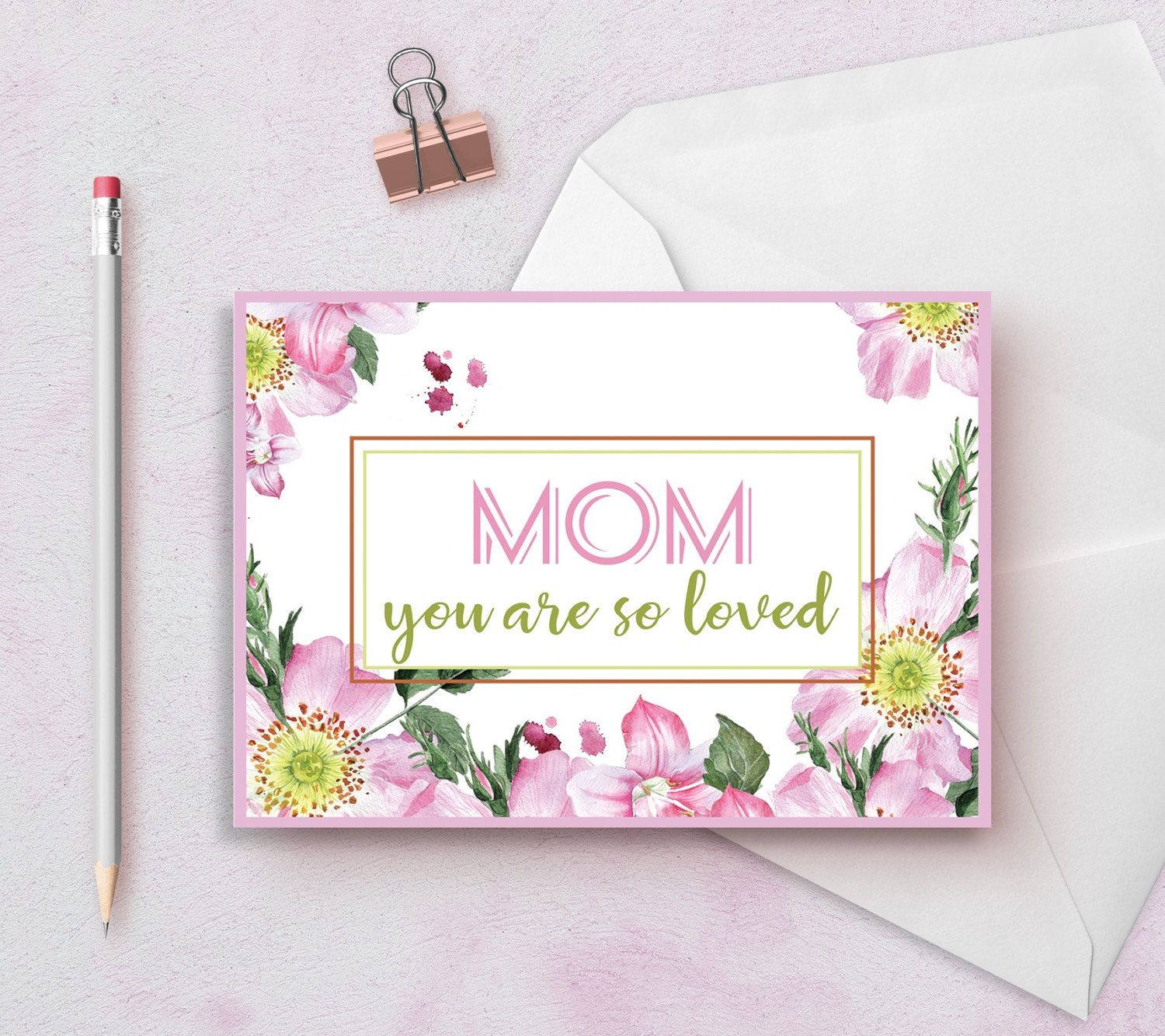 Mom birthday card printable happy birthday mom card printable mothers day card floral printable mom card mom birthday card personalized birthday greeting m4hsunfo