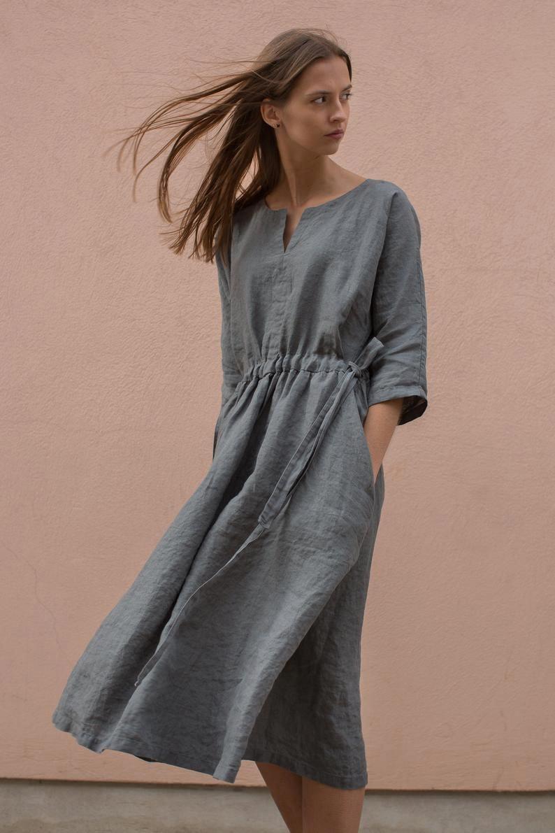 Bettzeug Kimono Kleid Lockere Tunika Aus Leinen Midi Kleid Leinen Plus Grosse Kleid Locker Ha In 2020 Kleider Modestil Nachhaltige Kleidung