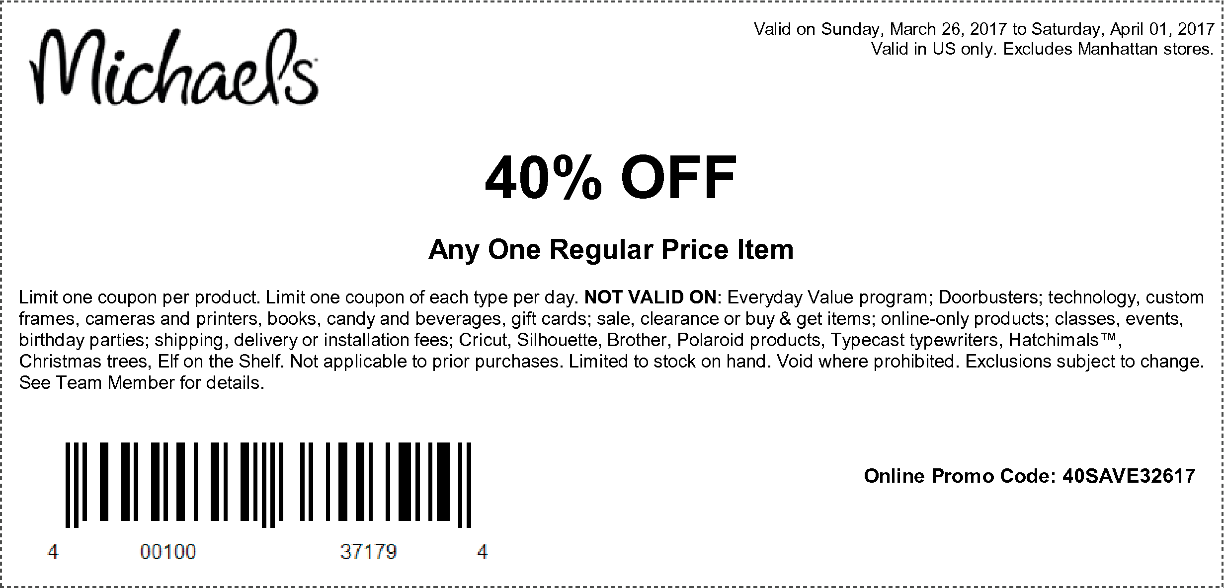 40 Offany One Regular Priced Item Michaels Michaels Coupon Coupons Close To My Heart