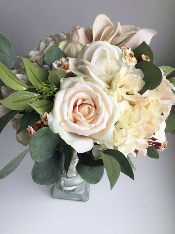 Silk Wedding Bouquet, White Bridal Bouquet, Blush Bouquet, Magnolia Bouquet, Spring Wedding Bouquet, Artificial Flower Bouquet, Summer #silkbridalbouquet
