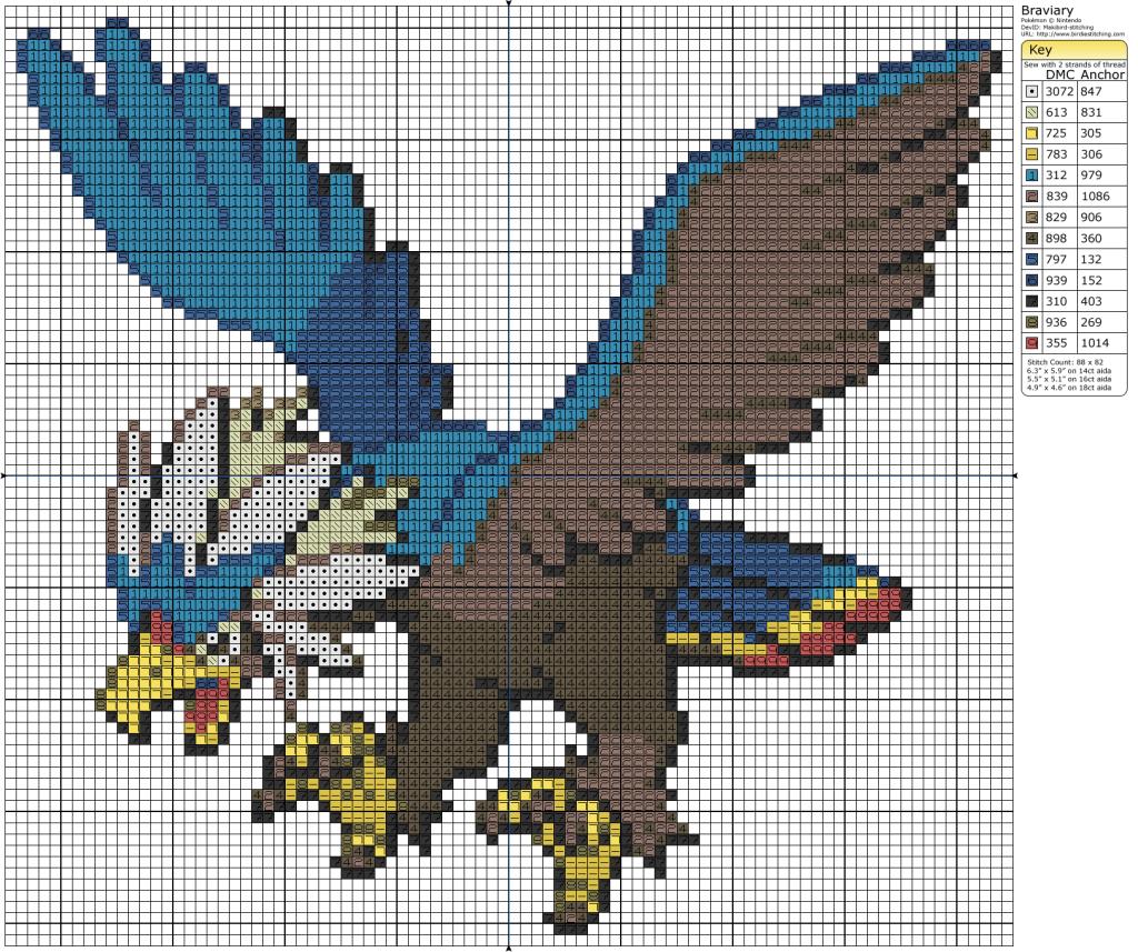 braviary  pokemon cross stitch pixel art pokemon