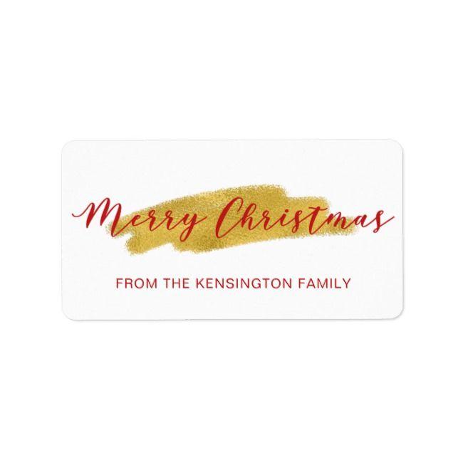 Elegant Christmas Gold Foil Brush Script Label