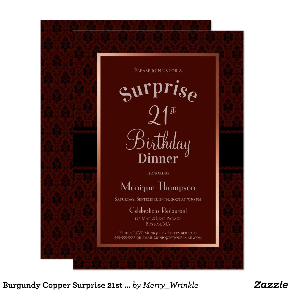 Burgundy Copper Surprise 21st Birthday Dinner Invitation