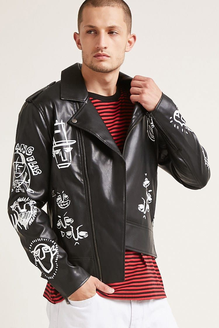 Graphic Moto Jacket Jackets, Casual shoes outfit, Sport