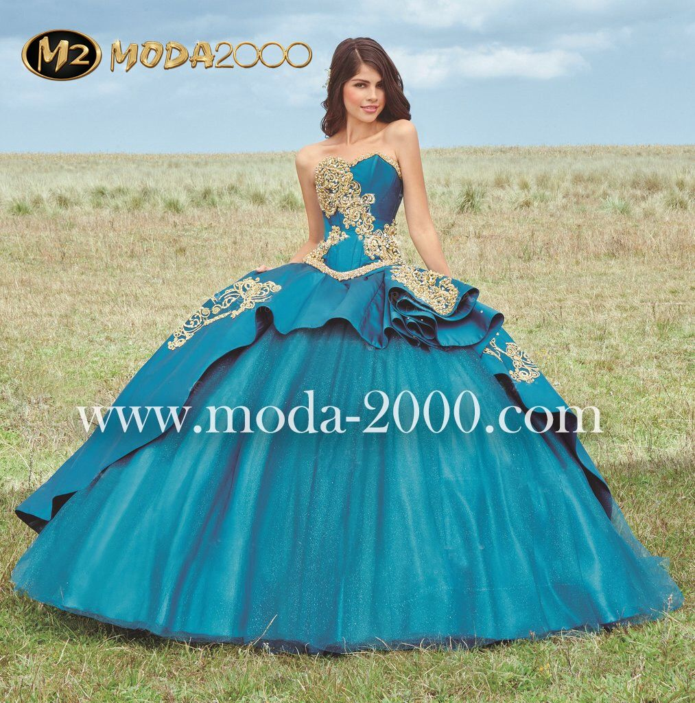 ba9b2a0aa2b Sweetheart jeweled blue gold charro quinceanera dress available at Moda 2000✨  Instagram   moda2000inc