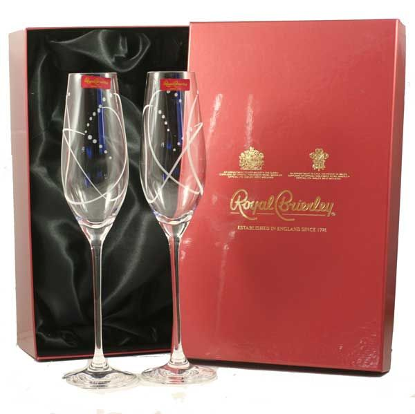 Crystal Flutes  Pair of Crystal Flutes from Royal Brierley - tall, slim and stunning £19.99
