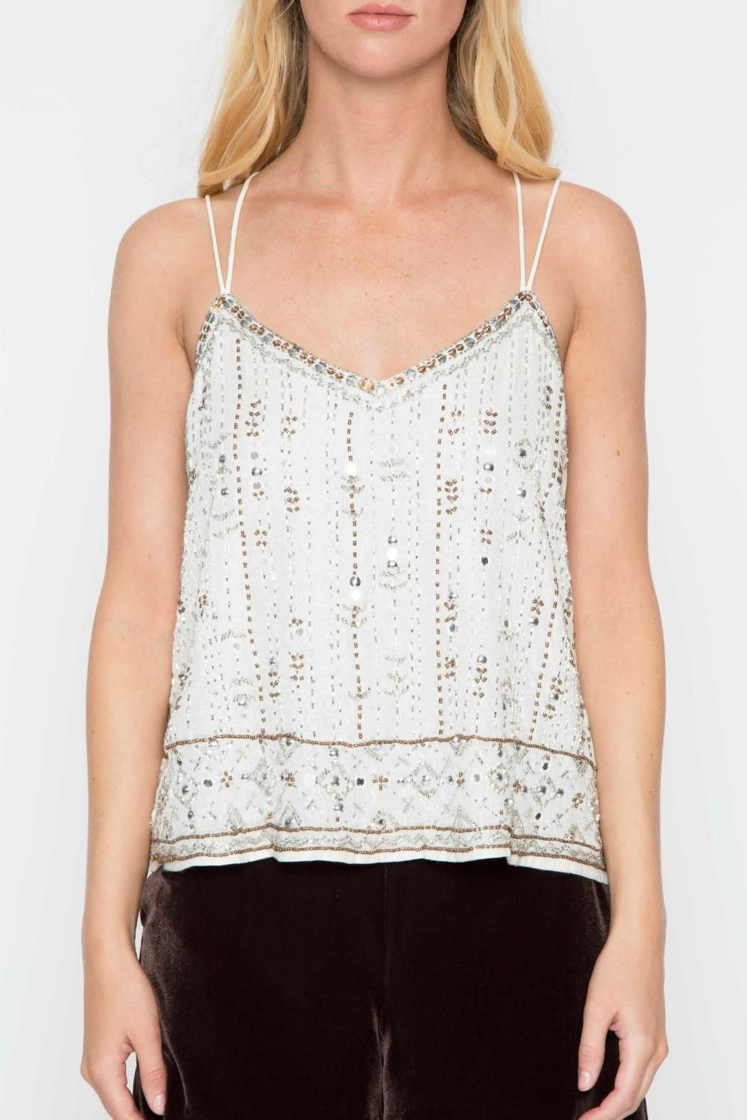 Gorgeous beaded tank with delicate straps, crisscross back and intricate beaded embroidery. A bit of glitz for your everyday tank.   Beaded Cami by Willow & Clay. Clothing - Tops - Tees & Tanks Clothing - Tops - Night Out New Jersey