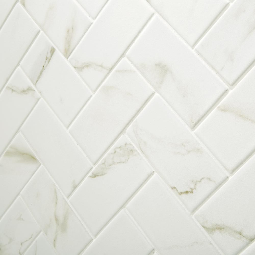 Marazzi Developed By Nature Calacatta 12 In X 14 In X 6 Mm Ceramic Mosaic Floor And Wall Tile 0 67 Herringbone Mosaic Tile Mosaic Flooring Mosaic Wall Tiles