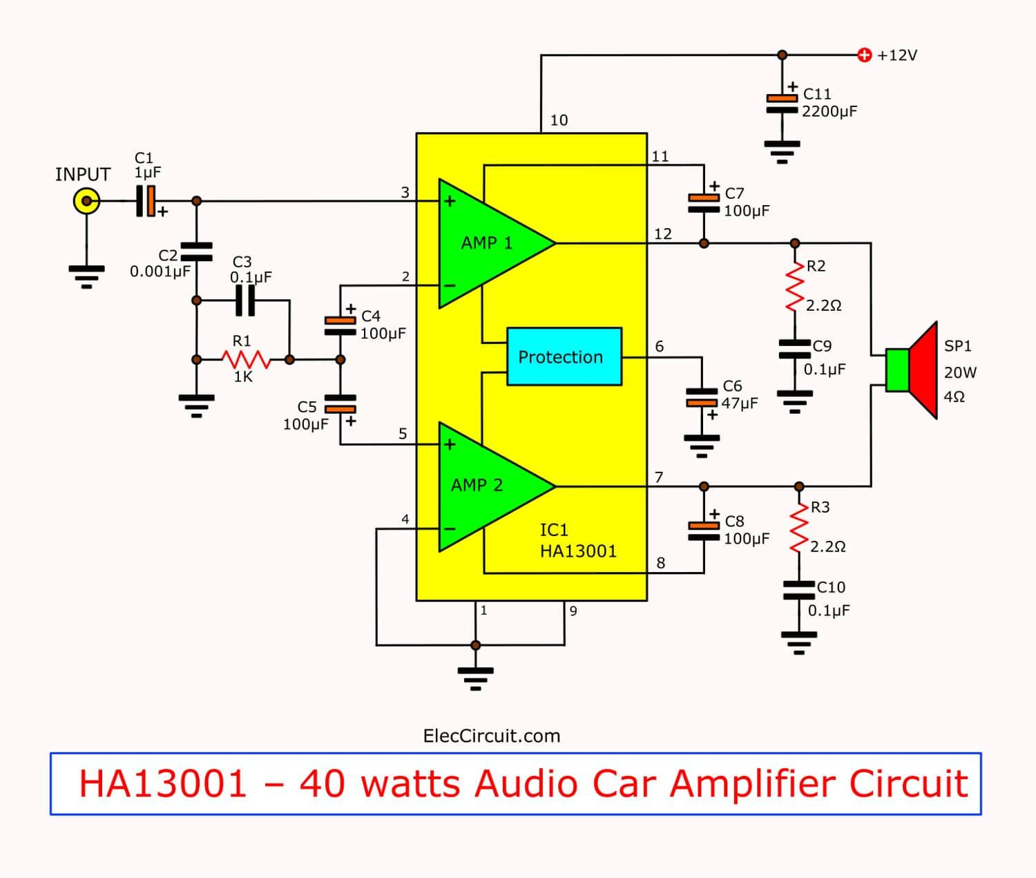 Tda2030 Bridge Amplifier Circuit Diagram With Pcb  35w Rms