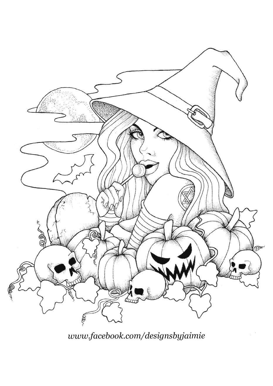 Witch And Pumpkins Witch Coloring Pages Halloween Coloring Pages Halloween Coloring Book