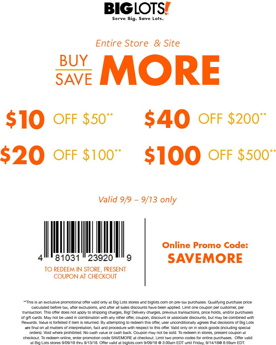 Pinned September 10th 10 Off 50 More At Biglots Or Online Via Promo Code Savemore Thecouponsapp Promo Codes Online Shopping Coupons Big Lots