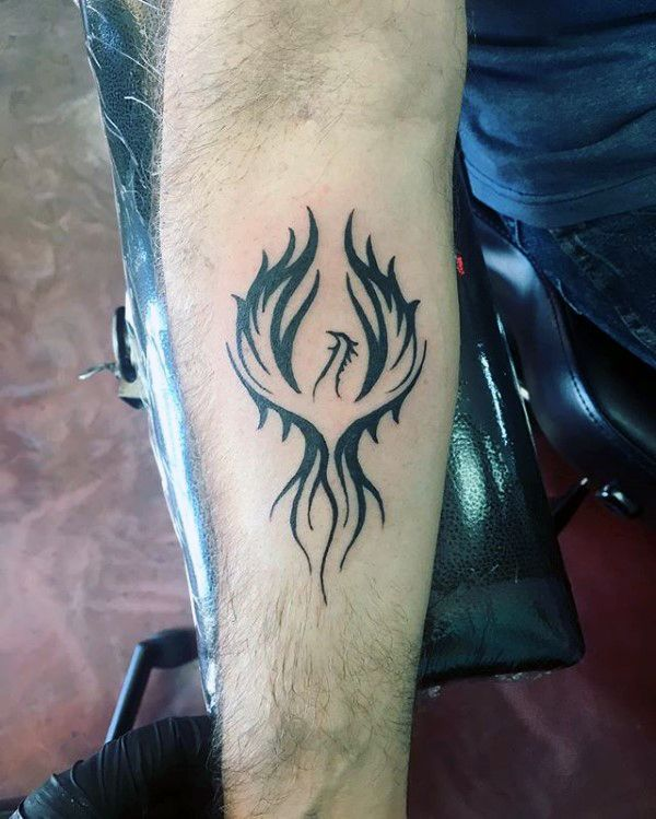 inner forearm black ink male phoenix tattoo designs. Black Bedroom Furniture Sets. Home Design Ideas