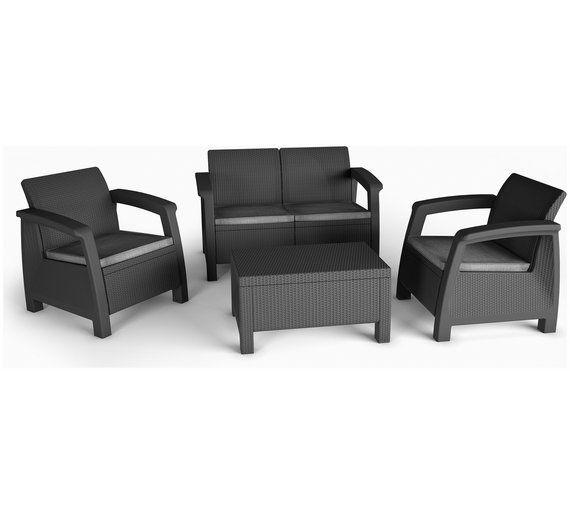 Buy Keter Bahamas Rattan 4 Seater Garden Lounge And Storage Set At
