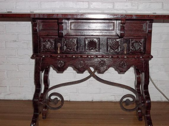 Antique Fold Out Game Table With Wrought Iron Base Table