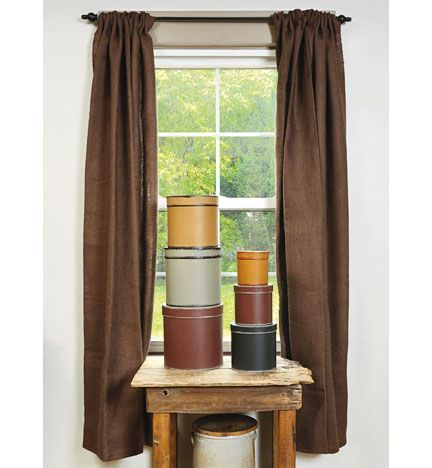 Dark Brown, Chocolate, Burlap Curtains